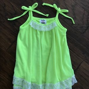 Little girls size 4T counting Daises neon dress